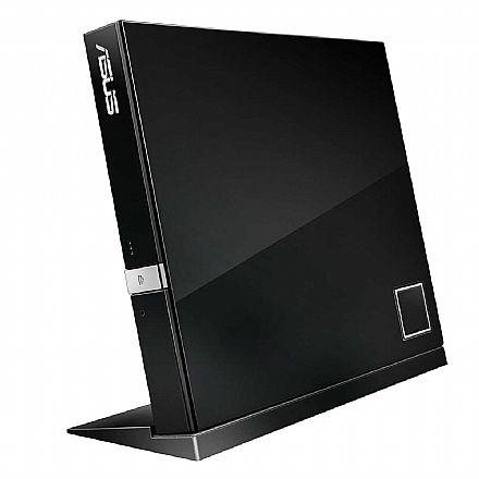 Gravador - Gravador Blu-Ray e DVD Portatil Asus - USB - SBW-06D2X-U - Suporta BDXL
