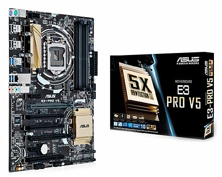 Placa Mãe para Intel - Asus E3-PRO V5 (LGA 1151 - DDR4 2133) Chipset Intel C232 - iluminado por LED - 5X Protection II