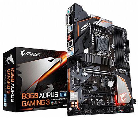Placa Mãe para Intel - Gigabyte B360 AORUS GAMING 3 (LGA 1151 - DDR4 2666) Chipset Intel B360 - 8ª Geração Coffee Lake - Slot M.2 - ATX