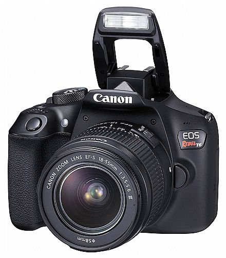 Câmera Digital - Canon EOS Rebel T6 Profissional com Lente 18-55 - 18 Mega Pixels - Sensor CMOS APS-C - DIGIC 4+ - Wi-Fi e NFC - Video Full HD