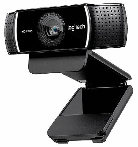 Webcam - Web Câmera Logitech C922 Pro Stream - Vídeo chamadas em Full HD 1080p - com Tripé - 960-001087