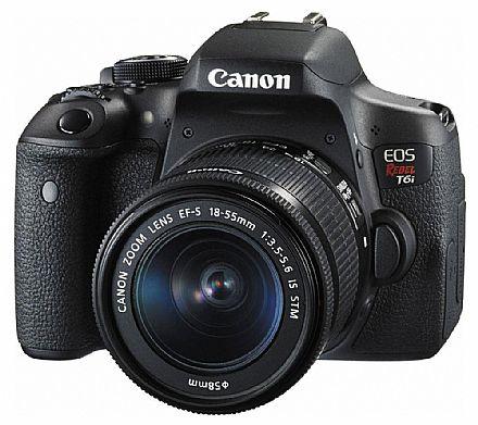 Câmera Digital - Canon EOS Rebel T6i Profissional com Lente 18-55 - 24.2 Mega Pixels - Sensor CMOS APS-C - DIGIC 6 - Wi-Fi e NFC - Vídeo Full HD