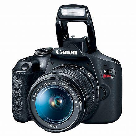 Câmera Digital - Canon EOS Rebel T7 Profissional com Lente 18-55 - 24.1 Mega Pixels - Sensor CMOS APS-C - DIG!C 4+ - Wi-Fi e NFC - Vídeo Full HD