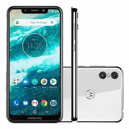 "Smartphone - Smartphone Motorola Moto One - Tela 5.9"" HD+, 64GB, Dual Chip 4G, Câmera Dupla 13MP + 2MP, Filma em Ultra HD 4K, Leitor de Digital - Branco - XT1941-3"