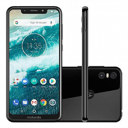 "Smartphone - Smartphone Motorola Moto One - Tela 5.9"" HD+, 64GB, Dual Chip 4G, Câmera Dupla 13MP + 2MP, Filma em Ultra HD 4K, Leitor de Digital - Preto - XT1941-3"