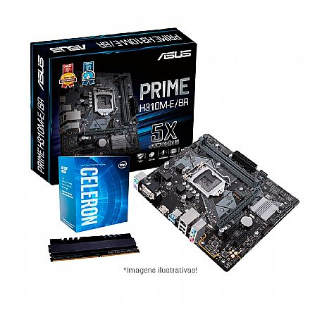 Kit Upgrade - Kit Upgrade Intel® Celeron® G4900 + Asus Prime H310M-E/BR + Memória 4GB DDR4