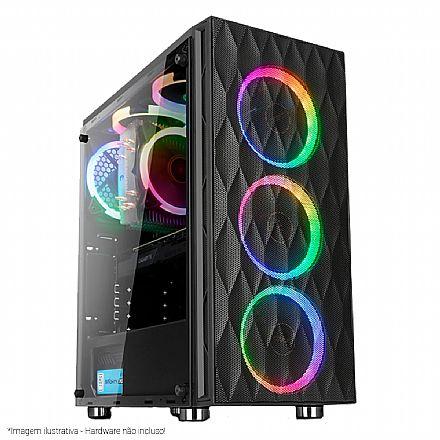 Gabinete - Gabinete Liketec Horus - com Coolers RGB - Lateral em Vidro Temperado - USB 3.0
