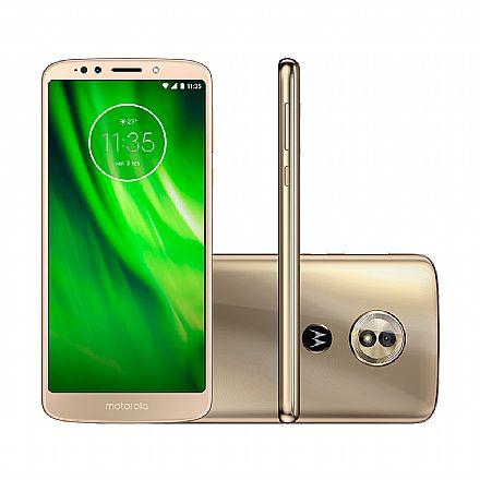 "Smartphone - Smartphone Motorola Moto G6 Play - Tela 5.7"" HD+, Octa Core, 32GB, Dual Chip, 4G, Câmera 13MP - Ouro - XT1922"
