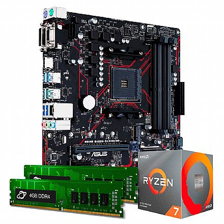 Kit Upgrade - Kit Upgrade AMD Ryzen™ 7 3700X + Asus PRIME B450M GAMING/BR + Memória 8GB DDR4