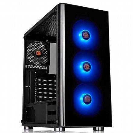 Gabinete - Gabinete Thermaltake V200 TG ARGB - Janela Lateral em Vidro Temperado - USB 3.0 - com Fonte 600W - CA-3K8-60M1WZ-00
