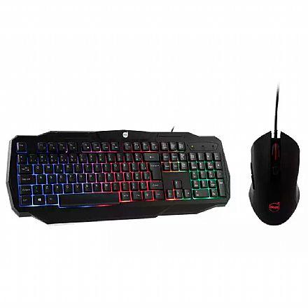 Kit Teclado e Mouse - Kit Teclado e Mouse Gamer Dazz Battlefire Revolution - LED RGB Rainbow - 3200 DPI - USB - 625021