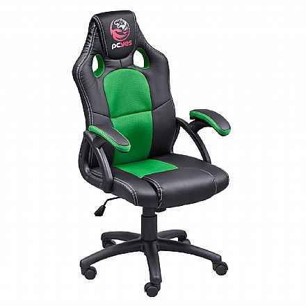 Cadeiras - Cadeira Gamer PCYes MAD Racer V6 - Mecanismo de inclinação - MADV6VD - Preto e Verde