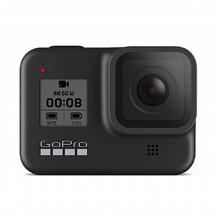 Câmera Digital - GoPro Hero 8 Black Bundle Kit - 12 Mega Pixels com HDR - Gravação em 4K - Acompanha Cartão 32GB, Bateria, Suporte de Cabeça, Bastão GoPro - SPJB1-CHDRB-801