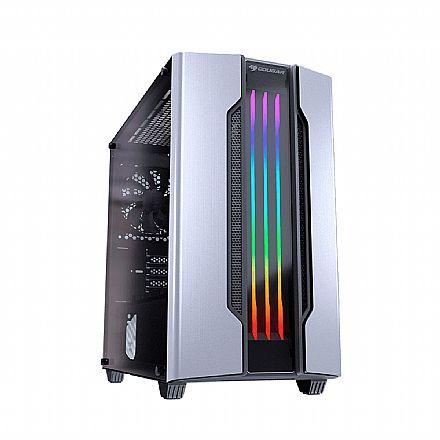 Gabinete - Gabinete Gamer Cougar Gemini M Silver - Mini Tower - LED RGB - Janela Lateral em Vidro Temperado - 385TMB0.0002