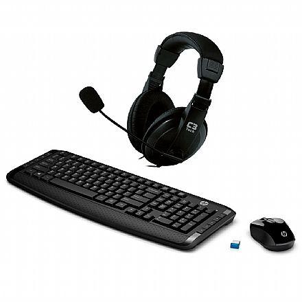 Kit Teclado e Mouse - Kit Home Office HP sem Fio – Teclado e Mouse sem Fio HP 300 + Headset C3 Tech Voicer Comfort