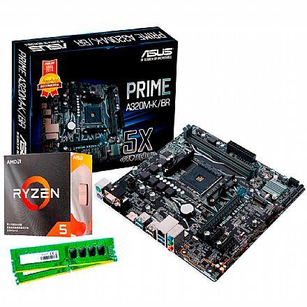Kit Upgrade - Kit Upgrade AMD Ryzen™ 5 3500X + Asus Prime A320M-K/BR + Memória 8GB DDR4