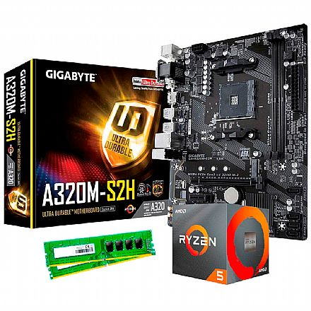 Kit Upgrade - Kit Upgrade AMD Ryzen™ 5 3600 + Gigabyte GA-A320M-S2H + Memória 8GB DDR4