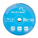 Blu-Ray BD-R 25GB 4x - Dual Layer - Printable - Tubo com 10 unidades - Multilaser DV057