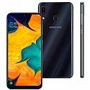 """Smartphone Samsung Galaxy A30 - Tela 6.4"""" - 64GB - TV Digital - Dual Chip - Câmera Dupla 16MP - Preto - SM-A305GT/DT"""
