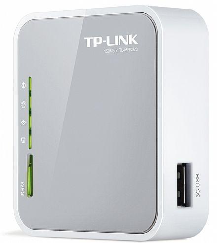 Roteador Wi-Fi Portátil TP-Link TL-MR3020 - 150Mbps - Modo Roteador 3G/4G, Roteador, Roteador Cliente WISP e Roteador de Viagem (Modo AP) - Porta Wan/Lan e USB