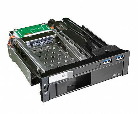 "Gaveta para HD Akasa Lokstor M51 - Rack para 2 HDs 2.5"" e 3.5"" - 2 portas USB 3.0 - AK-IEN-01"