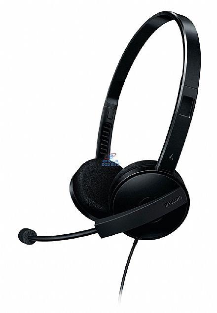Headset Philips SHM3550/10 - com microfone - Conector 3.5mm - Preto - Haste Rotacional e Cancelamento de Ruído