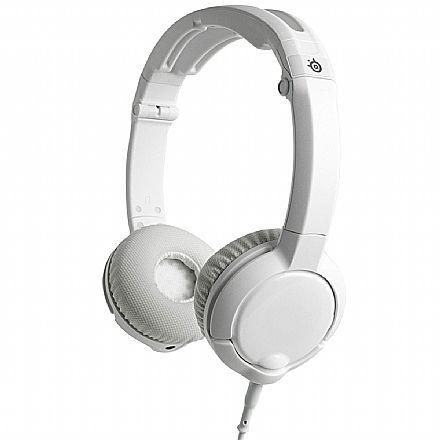 Headset SteelSeries Flux Branco - para PC e Mobile/MAC - Conector P2 - com Microfone e Controle de Volume - 61279