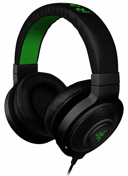 Headset Razer Kraken Black - Conector 3.5mm - preto e verde - RZ12-00870200-R3U1