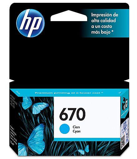 Cartucho HP 670 Ciano - CZ114AB - Compatível com HP 4625 / 4615 / 5525