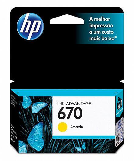 Cartucho HP 670 Amarelo - CZ116AB - Para HP 4625 / 4615 / 5525 / 3525