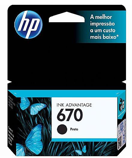 Cartucho HP 670 Preto - CZ113AB - Para HP 4625 / 4615 / 5525