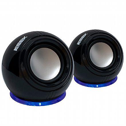 Caixa de Som K-Mex SP-U940 - Efeito com led azul - 3W RMS - Preto