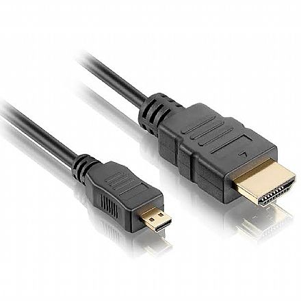 Cabo Conversor Micro HDMI para HDMI - 1,8 metros - 1.4 High Speed Full HD