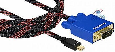 Cabo Conversor Mini DisplayPort para VGA - 2 Metros - PCYes