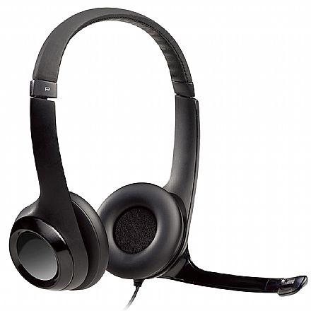 Headset Logitech H390 - Microfone giratório - Conector USB - Preto