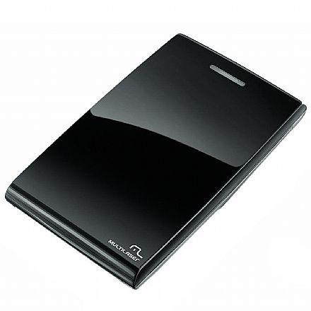"""Case para HD 2.5"""" Multilaser GA077 - Black Piano - USB 2.0"""