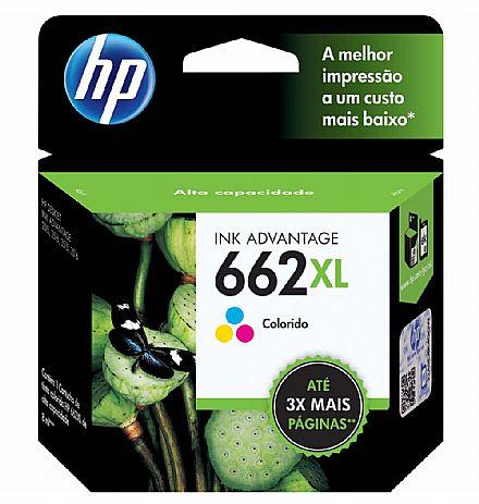 Cartucho HP 662XL Colorido - CZ106AB - Para Deskjet 1515 / 1516 / 2545 / 2546 / 2646 / 3546 / 4646