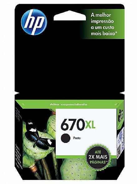 Cartucho HP 670XL Preto - CZ117AB - Para HP 3525 / 5525 / 4615 / 4625