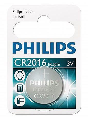 Bateria CR2016/01B Philips - Lithium 3V - tipo moeda