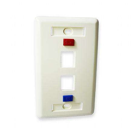Espelho 4x2 - para 2 saídas - com identificador de rede e telefonia