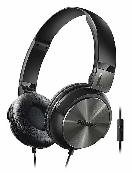 Fone de Ouvido Philips SHL3165BK/00 - Estilo DJ - Conector 3.5mm - com Graves Nitidos e com Microfone - Preto