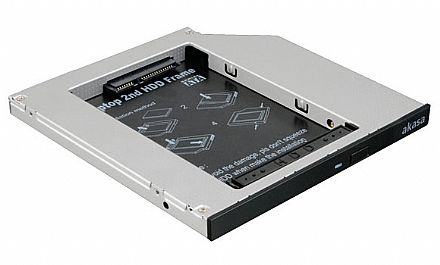 Adaptador Caddy Akasa N.Stor S9 - Converte baia de gravador de laptop SATA para HD / SSD de 7mm a 9mm - Compatível com baia 9,5mm - AK-OA2SSA-03