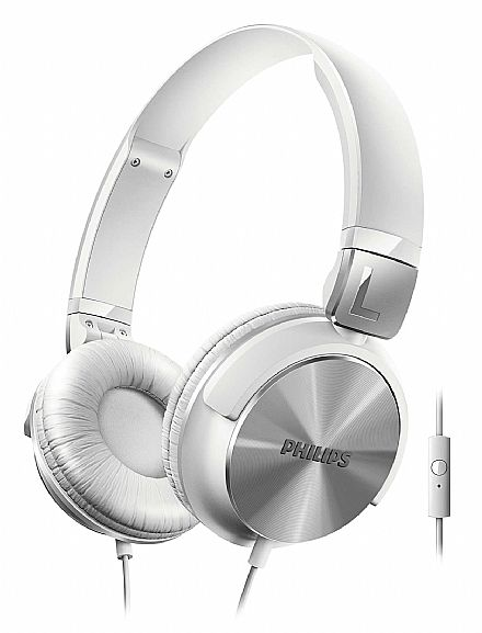 Fone de Ouvido Philips SHL3165WT/00 - Estilo DJ - Conector 3.5mm - com Graves Nitidos e com Microfone - Branco