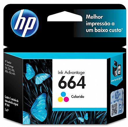 Cartucho HP 664 Colorido - F6V28AB - para Deskjet Ink Advantage 1115/2136/4536/3636/3836/3635/3776/3788/3790/2676/4676