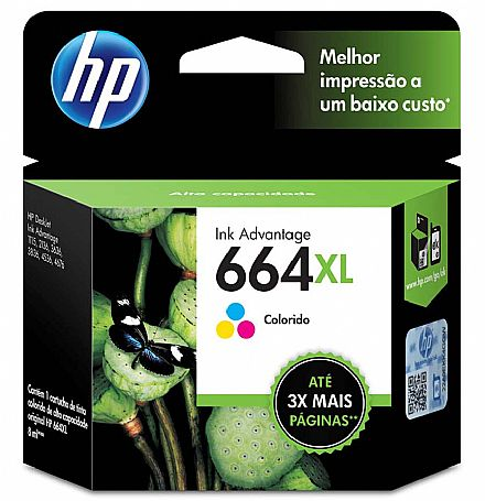 Cartucho HP 664XL Colorido - F6V30AB - para Deskjet Ink Advantage 1115/2136/4536/3636/3836/3635/3776/3788/3790/2676/4676