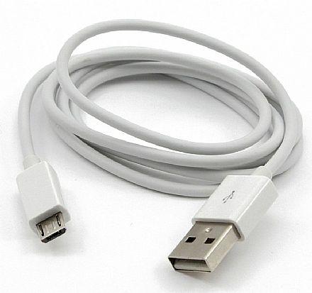Cabo Micro USB para USB - 90cm - Branco - para Celulares, Tablets, Câmeras