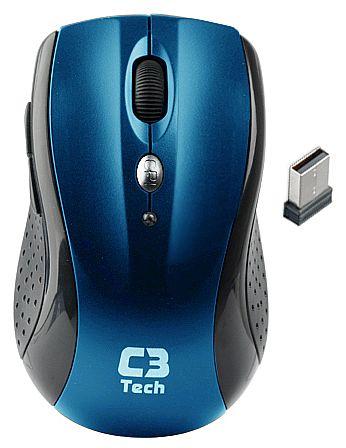 Mouse sem Fio C3 Tech M-W012 BL - 2.4GHz - 1600dpi - 5 botões - Azul
