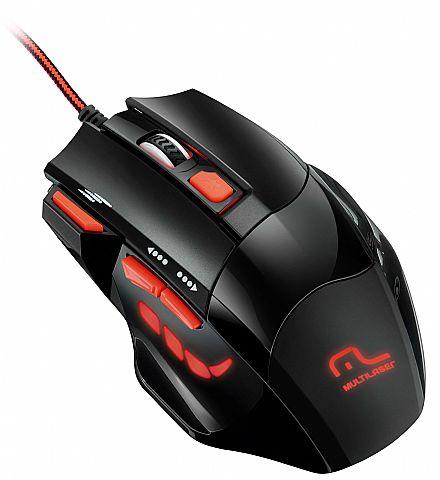 Mouse Gamer Multilaser Firemouse MO236 - 2400dpi - 7 botões - com LED Vermelho