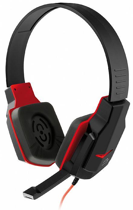 Headset Gamer Multilaser PH073 - com Controle de Volume - Conector 3.5mm - Preto e Vermelho