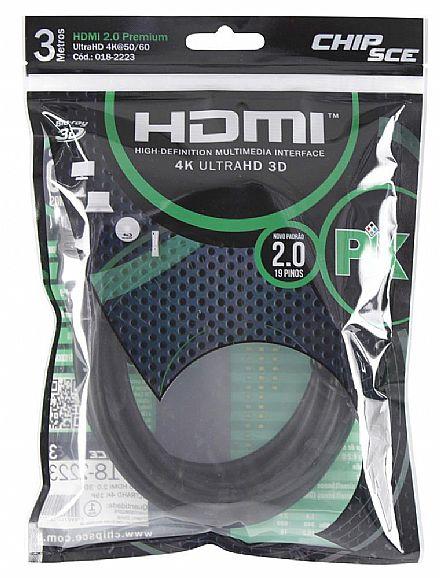 Cabo HDMI 2.0 Premium - 3 metros - 4K UltraHD HDR 60Hz / 1080p Full HD 120Hz - Chip SCE 018-2223